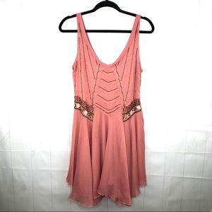 Free People Pink Beaded Sheer Dress/Tunic